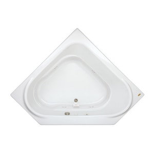 JACUZZI® Capella® 60 x 60 in. 8-Jet Acrylic Corner Drop-In or Skirted Whirlpool Bathtub with Right Drain and J2 Basic Control in White JCAP6060WCR2XXW