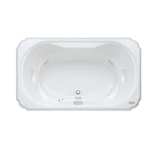 JACUZZI® Bellavista™ 66 x 42 in. Whirlpool Drop-In Bathtub with Center Drain in White JBEL6642CCR5CWW
