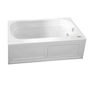 JACUZZI® Luxura® 60 x 30 in. Acrylic Rectangle Skirted Air Bathtub with Right Drain and J2 Basic Control in White JLXS6030ARL2XX