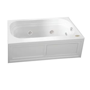 JACUZZI® Luxura® 60 x 30 in. Acrylic Rectangle Skirted Whirlpool Bathtub with Right Drain and J2 Basic Control in White JLXS6030WRL2XX
