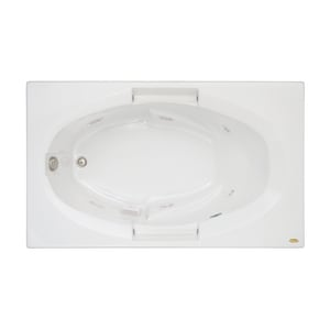 JACUZZI® Nova™ 60 x 36 in. Acrylic Rectangle Skirted Whirlpool Bathtub with Right Drain and J2 Basic Control in White JNOV6036WRL2HXW
