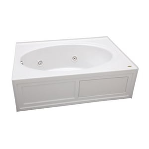 JACUZZI® Nova™ 60 x 42 in. Acrylic Rectangle Skirted Whirlpool Bathtub with Left Drain and J2 Basic Control in White JNVS6042WLR2CHW