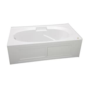 JACUZZI® Nova™ 60 x 36 in. Acrylic Rectangle Drop-In or Skirted Bathtub with Right Drain in White JNVS6036BRXXXXW