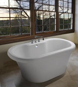 MTI Whirlpools Melinda 8 66-1/2 x 35-1/2 in. Acrylic Freestanding Bathtub with Center Drain in White MTIAST191WH