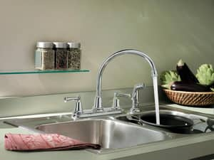 CFG Capstone® 1.5 gpm Double Lever Handle Kitchen Faucet with Sidespray in Polished Chrome CFGCA41613