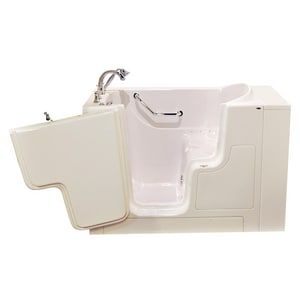 American Standard 709 Value Series 52 x 30 in. 21-Jet Gelcoat and Fiberglass Rectangle Built-In 3-Wall Alcove Bathtub with Left Drain in Linen with Polished Chrome A3052OD709ALLPC