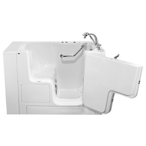American Standard 709 Value Series 52 x 32 in. 27-Jet Gelcoat Rectangle Built-In Bathtub with Right Drain in White with Polished Chrome A3252OD709CRWPC