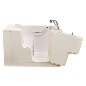 American Standard 709 Value Series 52 x 30 in. 27-Jet Gelcoat and Fiberglass Rectangle Built-In 3-Wall Alcove Bathtub with Right Drain in Linen with Polished Chrome A3052OD709CRLPC