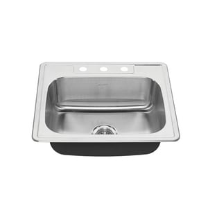 American Standard Colony® 25 x 22-1/16 in. 3 Hole Single Bowl Drop-in Kitchen Sink in Stainless Steel A20SB8252283S075