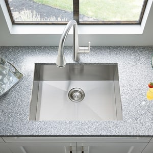 American Standard Edgewater® 25 x 22 in. 1 Hole Single Bowl Dual Mount Kitchen Sink in Stainless Steel A18SB9252211075