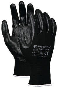 PROSELECT® Size XL Foam Coated Plastic and Nitrile Waterproof Gloves in Black and Grey PSG14454 at Pollardwater
