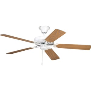 Progress Lighting AirPro 52 in. 5 Blade Fan with 3 Speed Reversible Motor and Reversible Blades White PP2501