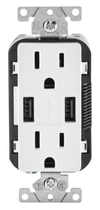 Leviton Decora® 15 AMP USB Charger and Tamper Resistant Receptacle in Light Almond LT5632T