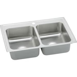 Elkay Gourmet Pacemaker® 23 x 17 in. Two Bowl Drop-In Bar Sink 3-Hole Stainless Steel EBPSR23173