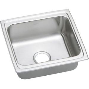 Elkay Gourmet® Stainless Steel Single Bowl Top Mount Bar Sink Lustrous Highlighted Satin EDLFR191810