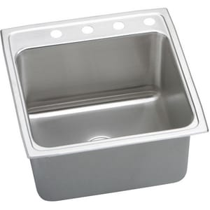 Elkay Lustertone™ Classic 22 x 22 in. 2 Hole Stainless Steel Single Bowl Drop-in Kitchen Sink in Lustrous Satin EDLR2222122