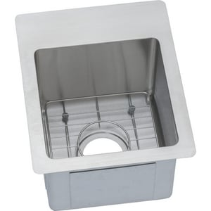 Elkay Crosstown™ 1-Bowl Rectangular Dual Mount Sink Kit in Polished Satin EECTSR13169BG0