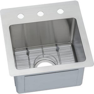 Elkay Crosstown® 15 x 15 in. 1 Hole Drop-in and Undermount Stainless Steel Bar Sink in Polished Satin EECTSR15159BG1