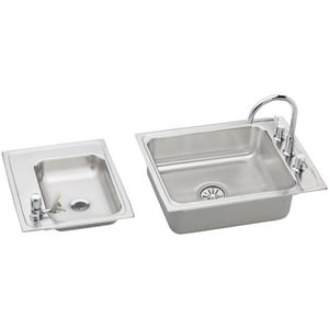 Elkay Lustertone® 4-Hole 2-Basin Topmount Utility Sink with High Arc Kitchen Faucet and Drain EDRKAD2411940LC