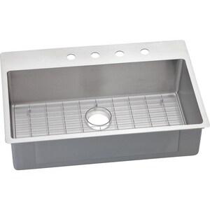 Elkay Crosstown™ 9 in. 18 ga 2-Hole 1-Bowl Drop-In and Undermount Kitchen Sink in Stainless Steel EECTSRS33229BGMR2