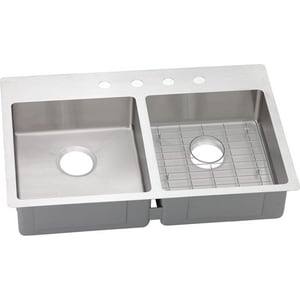 Elkay Crosstown® 33 x 22 in. 3 Hole Stainless Steel Double Bowl Drop-in Kitchen Sink EECTSRAD33226BG3