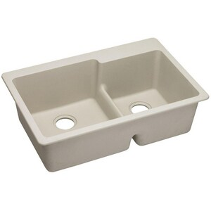 Elkay Quartz Classic® 33 x 22 in. 2-Bowl 3 Hole Kitchen Sink with Rear Center Drain in Bisque EELGLBO3322BQ0