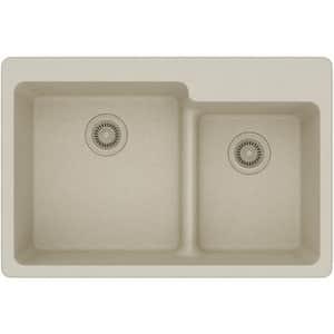 Elkay Quartz Classic® 33 x 22 in. 2-Bowl 3 Hole Kitchen Sink with Rear Center Drain in Bisque EELGLBO3322BQ0