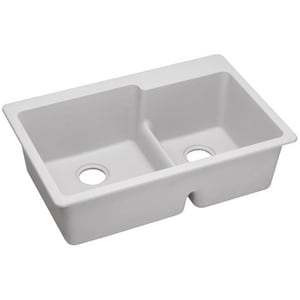 Elkay Quartz Classic® 33 x 22 in. 2-Bowl 3 Hole Kitchen Sink with Rear Center Drain in White EELGLBO3322WH0