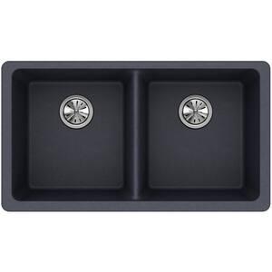 Elkay Quartz Classic® 33 x 19 in. No-Hole Double Bowl Undermount Kitchen Sink in Dusk Grey EELGU3322GY0