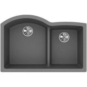 Elkay Quartz Classic® 33 x 22 in. Composite Double Bowl Undermount Kitchen Sink in Greystone EELGHU3322RGS0