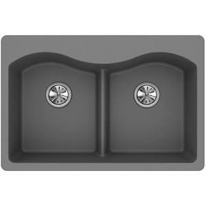 Elkay Quartz Classic® 33 x 22 in. No Hole Composite Double Bowl Drop-in Kitchen Sink in Greystone EELGLB3322GS0