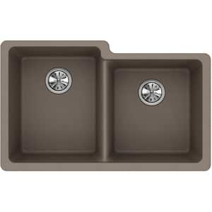 Elkay Quartz Classic® 33 x 20-1/2 in. Composite Double Bowl Undermount Kitchen Sink in Greige EELGU250RGR0