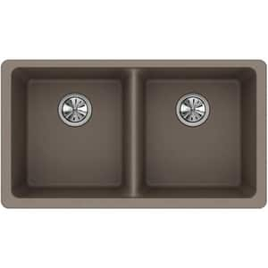 Elkay Quartz Classic® 33 x 18-1/2 in. Composite Double Bowl Undermount Kitchen Sink in Greige EELGU3322GR0