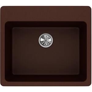 Elkay Quartz Classic® 25 x 22 in. No-Hole Single Bowl Top Mount Kitchen Sink in Pecan EELG2522PC0