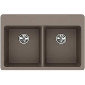 Elkay Quartz Classic® 33 x 22 in. Composite Double Bowl Drop-in Kitchen Sink in Greige EELG3322GR0