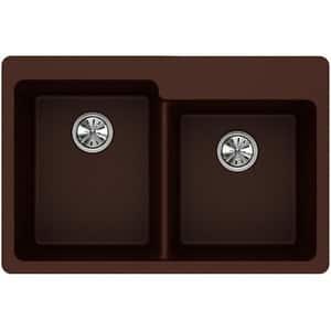 Elkay Quartz Classic® 33 x 22 in. No-Hole  Single Bowl Topmount Kitchen Sink in Pecan EELG250RPC0