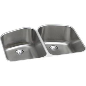 Elkay Harmony™ 32-3/4 x 21-11/16 in. Double Bowl Undermount Sink Kit Lustrous Highlighted Satin EELUH32229PD