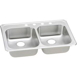 Elkay Celebrity® 33 x 21-1/4 in. 4 Hole Stainless Steel Double Bowl Drop-in Kitchen Sink EGECR33214