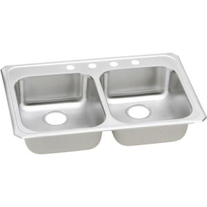 Elkay Celebrity 33 x 21-1/4 in. 3 Hole Stainless Steel Double Bowl Drop-in Kitchen Sink in Brushed Satin EGECR33213