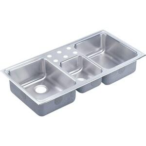 Elkay Gourmet® 3-Hole 3-Bowl Stainless Steel Kitchen Sink in Satin ELCR43223