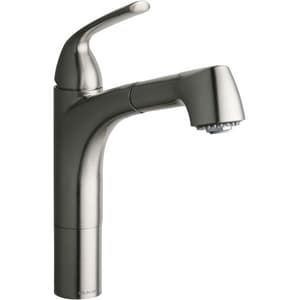 Elkay Gourmet 1-Hole Pull-Out Spray Kitchen Faucet with Single Lever Handle in Brushed Nickel ELKLFGT1041NK