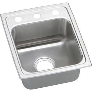 Elkay Lustertone™ Classic 15 x 17-1/2 in. 3 Hole Drop-in Stainless Steel Bar Sink in Lustrous Satin ELRAD1517603