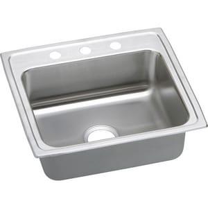 Elkay Lustertone™ Classic 22 x 19-1/2 in. 4 Hole Stainless Steel Single Bowl Drop-in Kitchen Sink in Lustrous Satin ELR22194