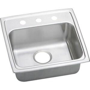 Elkay Lustertone™ Classic 19 x 19 x 5-1/2 in. 1-Hole Single Bowl Drop-In Kitchen Sink Stainless Steel ELRAD191955