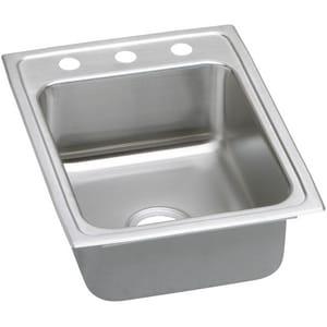 Elkay Lustertone® 2-Hole 1-Bowl Topmount Kitchen Sink in Lustrous Highlighted Satin ELRAD1722602