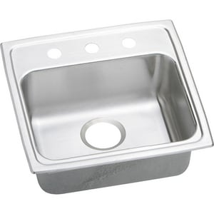 Elkay Lustertone™ Classic 3-Hole 1-Bowl Stainless Steel Topmount Kitchen Sink with Rear Center Drain ELRAD1918653