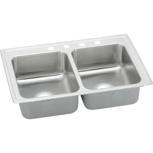 Elkay Lustertone™ Classic 29 x 18 in. ADA Stainless Steel Equal Double Bowl Top Mount Kink 3 Hole ELRAD2918603