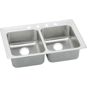 Elkay Lustertone® 4-Hole 2-Bowl Topmount or Drop-In Equal Sink in Lustrous Highlighted Satin ELRADQ2922654