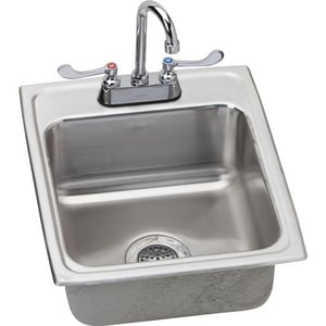 Elkay Lustertone® 4-Hole 1-Bowl Topmount Kitchen Sink in Lustrous Highlighted Satin ELRAD172065OS4
