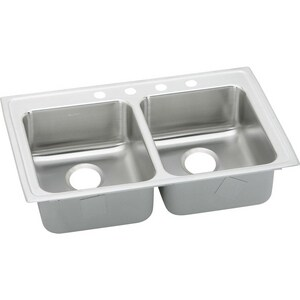 Elkay Lustertone™ Classic 33 x 21-1/4 x 6-1/2 in. Double Bowl Top Mount Sink 4 Hole ELRAD3321654